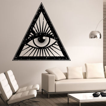 Illuminati Universe Space Eye Wall Decal Vinyl Sticker Art Decor Bedroom Design Mural interior design  geometric galaxy universe