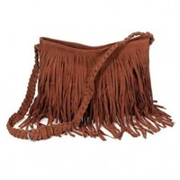 Ecosusi Hippie Suede Tassel Fringe Crossbody Handbag (Brown)