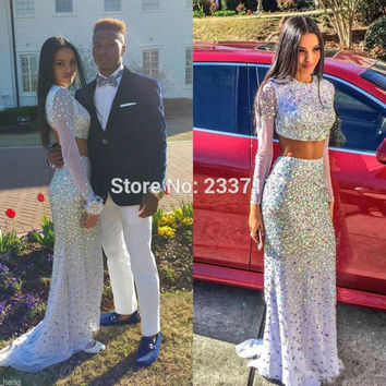 Exquisite Chiffon Beaded Crystal Long Sleeve White 2 Piece Prom Dresses Mermaid 2016 Lily Collin Zipper-Up Court Train 58264