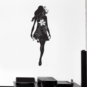 Wall Decal Silhouette Beautiful Girl Dress Flowers Vinyl Stickers Unique Gift (ig2848)
