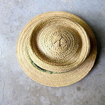 Vintage Brim Straw Hat Woven Raffia Fedora Summer Straw Panama Hat Mens Womens Woven Straw Hat Boho Hipster Natural Hand Woven Hat Medium