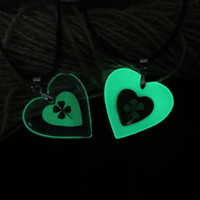 clover heart of atlantis glowing couple necklace,puzzle piece heart shaped, glowing couple necklace his and her with free chain