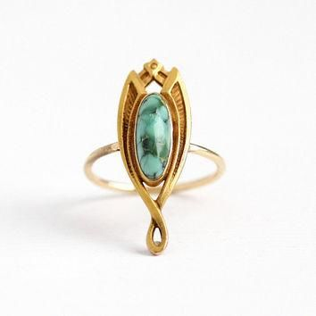 Antique 14k Yellow Gold Turquoise Stick Pin Conversion Ring - Vintage Art Nouveau 1910