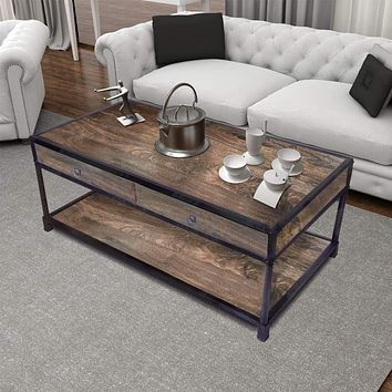Metal Framed Mango Wood Coffee Table with Two Drawers and Open Base, Brown and Black