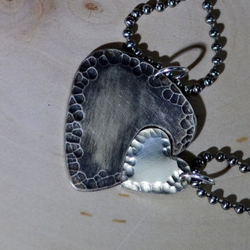Sterling silver guitar pick and heart couples interlocking necklaces