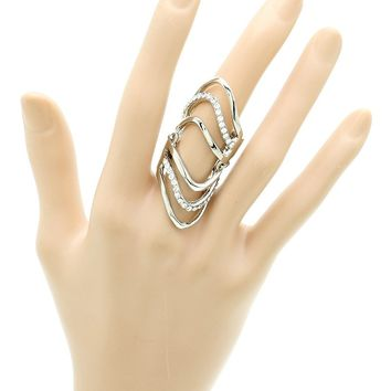 Clear Layered Metal Armour Knuckle Ring
