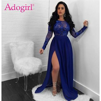 Adogirl 2018 Sexy Open Back See Through Sequins Night Club Dress O Neck Long Sleeve High Slit Maxi Evening Party Dresses Vestido