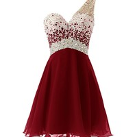 Dresstells® One Shoulder Homecoming Dress with Beadings Short Bridesmaid Dress Burgundy Size 10