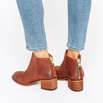 Office Amends Back Zip Leather Heeled Ankle Boots