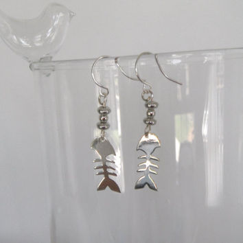 Silver Fish Bones Skeleton  Dangle Earrings.  Gift fashion under 25