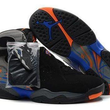 Cheap Air Jordan 8 Retro Black Grey Orange Men Shoes