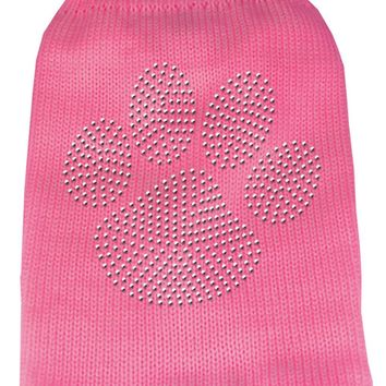 Clear Rhinestone Paw Knit Pet Sweater Lg Pink large