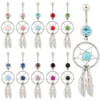ICIKHY9 Belly button ring Body piercing Jewelry Dangle Dream Catcher Crystal Gem 14G Surgical Steel Nickel free 10 colors Free shipping