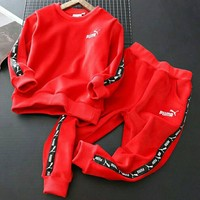 PUMA Girls Boys Children Baby Toddler Kids Child Fashion Casual Top Sweater Pullover Pants Trousers Two Piece Set