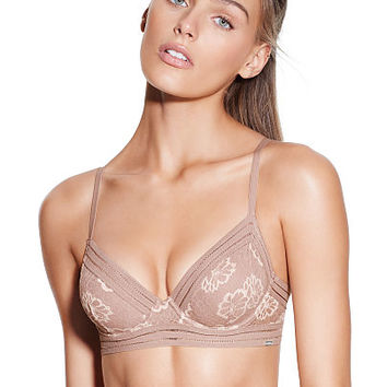Floral Lace Unlined Bra - PINK - Victoria's Secret