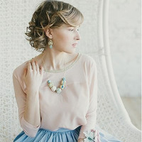 "Geometric wood pastel necklace ""March song"""