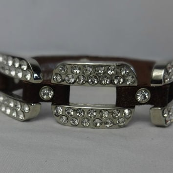 Keep Me Chained Rhinestone Leather Bracelet