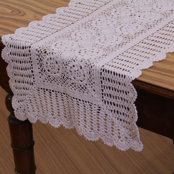 CROCHET TABLE RUNNER- Handmade - 100% Cotton - Crochet Table Throw, Table Runner for Home Decor, Wedding, Birthdays, Bridal & Gifts.