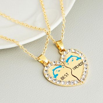 New BEST FRIENDS Dolphin Heart Silver Tone 2 Parts Pendants Necklace BFF Rhinestones Friendship Necklaces