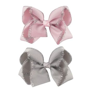 "2pcs/lot 4"" Kids' Head Accessories Solid Grosgrain Ribbon Hairbow with Clips Handmade Glitter Edge Hair Bow Girls' Headwear"