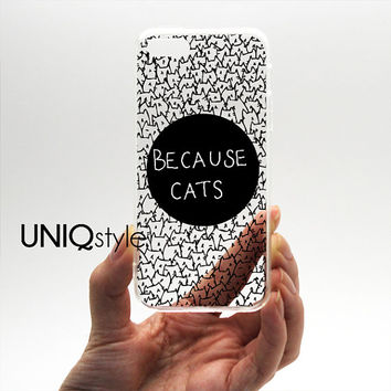 Transparent clear cat case for iPhone 4/4s 5/5s 5c Samsung Note 3 / S4 / S5, because cats plastic case with tpu edge w/extra protection, I39