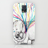 Elephant Showers, Rainbow Flowers iPhone & iPod Case by Alex Schol