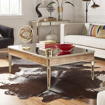 Clara Antique Gold Mirrored Accent Tables