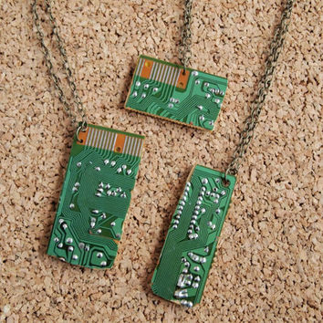 Computer Chip Necklace - Upcycle Nerd Geek Motherboard PC charm chain unisex men women gender neutral FREE Shipping to United States