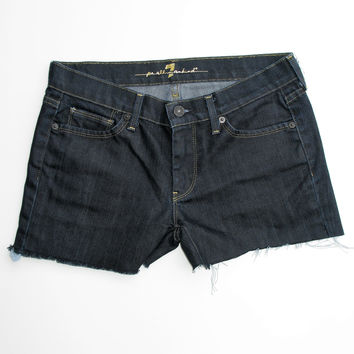 7 For All Mankind Dark Blue Low Rise 'Cut Off' Jeans to Shorts 28