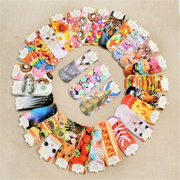 1pair 3d Printed Socks Women New Kwaii Low Cut Ankle Funny Sock 2016 Spring New Fashio