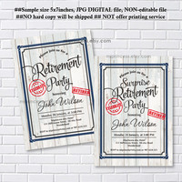 Retirement Invitations, Retirement party Invitation, Retirement Celebration retro vintage Invite, Rustic wood, farewell party - card 1205