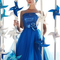 [78.99] Fabulous Tulle & Stretch Satin Strapless Neckline A-Line Short Homecoming Dresses With Lace Appliques - dressilyme.com