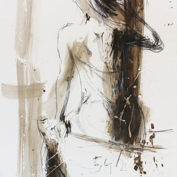 Figurative Original drawing Sketch Mixed media Wall art Woman Hat Contemporary Graphic art Modern artwork Fine art Charcoal Female Figure
