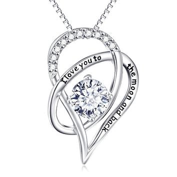 Mother's Day! I Love You To The Moon & Back Swarovski Elements Necklace in 14K White Gold