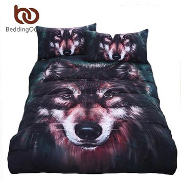 BeddingOutlet Wolf Bedding Set Painting 3D Vivid Duvet Cover With Pillowcases Twill Cool Bed Set 3pcs Twin Full Queen King
