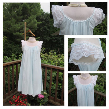 Colony Club blue nightgown lace vintage nightie 1960s night gown pjs teddy babydoll bow nylon