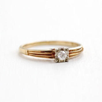 Vintage 14k-18k Yellow & White Gold .08 Carat Diamond Solitaire Ring - Size 6 1/2 1940s 1950s Mid-Century Engagement Wedding Fine Jewelry