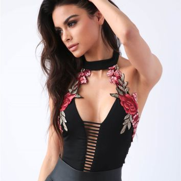 Elegant Floral Embroidery bandage Bodysuit Women Halter Backless Summer Jumpsuit Tops Sexy Hollow Out Rompers Playsuit Leotard