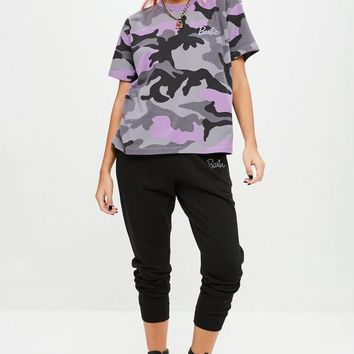 Missguided - Barbie x Missguided Purple Camo T Shirt