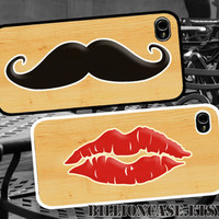 Mustache and Red Lip Kiss Handlebar - iPhone 4 Case iPhone 4s Case iPhone 5 Case Idea Case Galaxy Case Hard Plastic Case Rubber Case