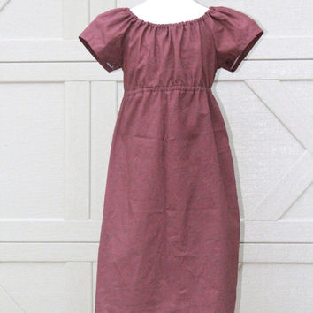 Brown Peasant Dress for Girls 6-12months, Plain Flower Girl in Brown