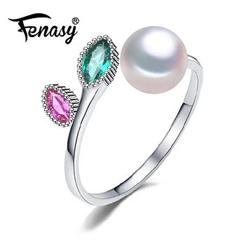 FENASY Pearl wedding ruby rings,pearl jewelry 925 sterling silver Black White freshwater emerald Ring for Women Gift,jewelry box