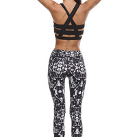 Raise Your Hands Abstract Print Caged Sports Bra