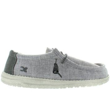 Hey Dude Wally   Grey/white Woven Canvas Athleisure Wallabee