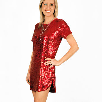 RED SEQUIN TUNIC DRESS