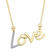 14K Yellow Gold With 0.07 Ct Diamonds Script Love Necklace - 18 Inches