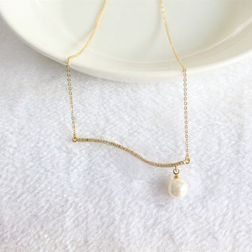 Simple Bar Necklace/Pendant Necklace/Geometric Necklace/Simple Chain Necklace/Minimalist Necklace/Tiny Necklace/Bar Chain Necklace