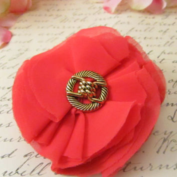 Beautiful Coral Chiffon Flower and Vintage Button by Reneeloveandco