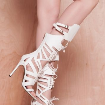 White Faux Leather Cut Out Gladiator Heels @ Cicihot Heel Shoes online store sales:Stiletto Heel Shoes,High Heel Pumps,Womens High Heel Shoes,Prom Shoes,Summer Shoes,Spring Shoes,Spool Heel,Womens Dress Shoes