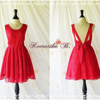 A Party V Shape Red Lace Dress Red Party Dress Red Prom Dress Wedding Red Bridesmaid Dress Red Lace Backless Dresses Custom Made